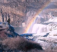 Shoshone Falls, Waterfalls in Winter with rainbow, Idaho, USA by Forrest  Ray