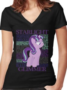 The Many Words of Starlight Glimmer Women's Fitted V-Neck T-Shirt