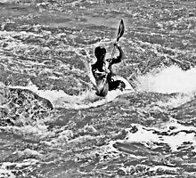 Kayaker in Black and White 1 by Peggy Berger
