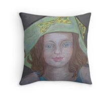 Young Girl In A Hat Throw Pillow