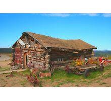 Log cabin at Boundary Photographic Print