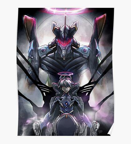 Kawrou Evangelion Anime Tra Digital Painting  Poster