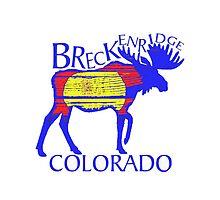 Colorful Breckenridge Colorado woodcut moose by artisticattitud
