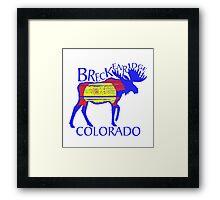 Colorful Breckenridge Colorado woodcut moose Framed Print