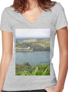 a historic Sierra Leone landscape Women's Fitted V-Neck T-Shirt