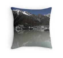 In the Hall of the Mountain King- Tasman Glacier Lake Throw Pillow