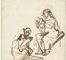 Drawing - One of the three Kings adoring Mary and the Child, Rembrandt Harmensz. van Rijn, 1635 - 1639  by wetdryvac