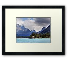 Spirit Island and Mountains Framed Print
