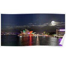 Sydney Vivid festival of light - Opera house full moon Poster