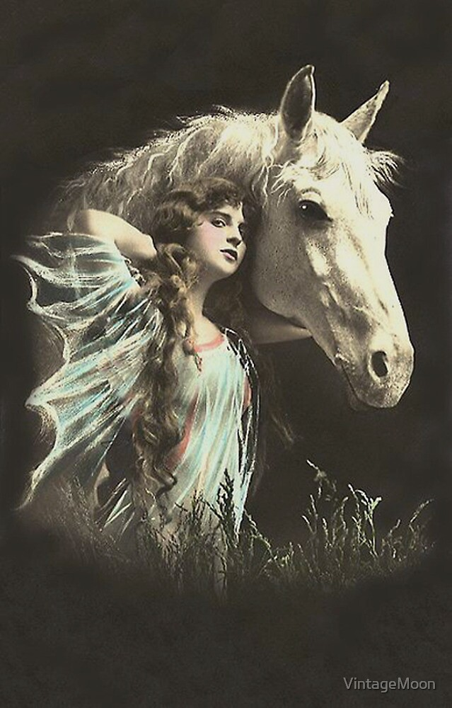 Vintage *Beauty whith her White Horse* by VintageMoon
