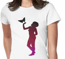 Vintage Belle and the Butterfly Silhouette Womens Fitted T-Shirt