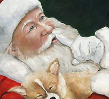 Pembroke Welsh Corgi and Santa Claus by Charlotte Yealey