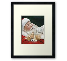 Pembroke Welsh Corgi and Santa Claus Framed Print