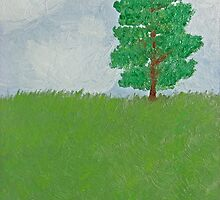 Tree on Hill - First Oil Painting by Christopher Johnson