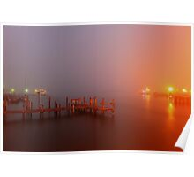 foggy harbour Poster