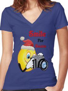 Smile for Santa Women's Fitted V-Neck T-Shirt