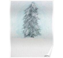 Winter Pine Tree - Acrylic Painting Poster