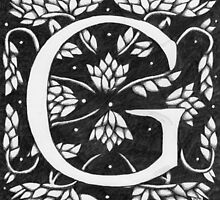 "Art Nouveau ""G"" (William Morris inspired) by Donna Huntriss"