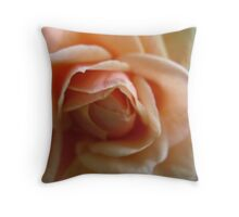 Peach Burst Rose Throw Pillow