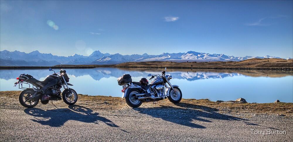 My Bikes, Tekapo B Headpond and Aoraki Mount Cook by Antony Burton
