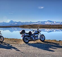 My Bikes, Tekapo B Headpond and Aoraki Mount Cook by Tony Burton
