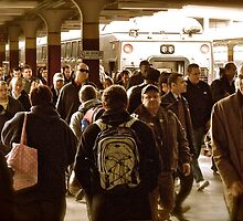 """""""Boston Commuters"""" 3 - Coming Off the """"T"""" - © 2009 by Jack McCabe"""