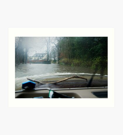 View from inside a Land Rover in the floods! Art Print