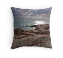 Sun streaming through clouds, Acadia National Park Throw Pillow