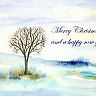 Christmas Greetings - Lone tree in winter by Caroline  Lembke