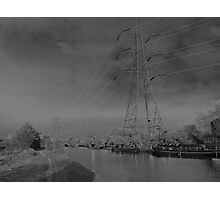 Pylon, on canal Urban  landscape  solarised. Photographic Print