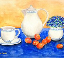 Still Life with Coffee Set and Nectarines by Caroline  Lembke
