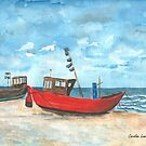 Fishing Boats at the Baltic Sea on the island of Usedom by Caroline  Lembke