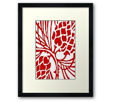 Red and White Abstract Framed Print