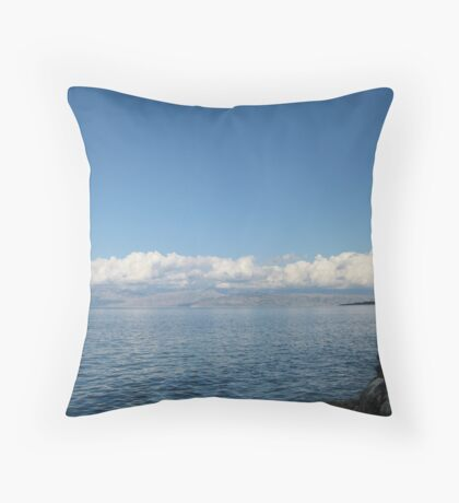 Albania under cloud, from Roda, Corfu Throw Pillow