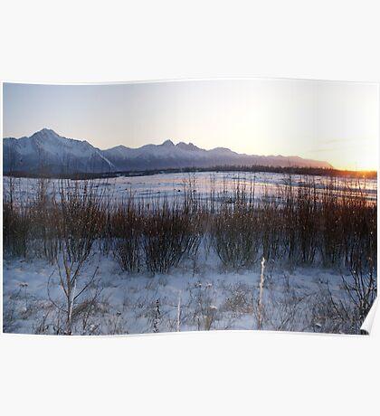 Sundown Alpenglow/Matanuska River Poster