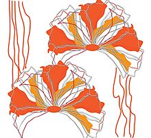 Orange Red Abstract Flower Photographic Print