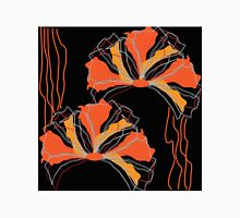 Abstract Black Orange Red Poppy Floral T-Shirt