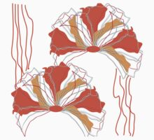 Orange Red Abstract Flower Baby Tee