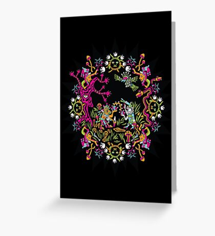 Aztec meeting psychedelic T-shirt Greeting Card