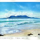 Maria Island from Spring Beach with Hooded plovers in foreground. by melhillswildart