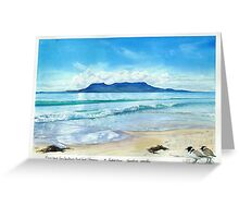 Maria Island from Spring Beach with Hooded plovers in foreground. Greeting Card