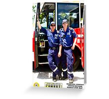 Camp Quality Convoy: Firemen with hearts of gold Greeting Card