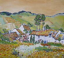 Landscape at Arles after Vincent Van Gogh by Barry Burke
