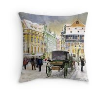 Prague Old Town Square Winter Throw Pillow