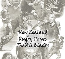 New Zealand Rugby Heroes - the All Blacks by Alleycatsgarden