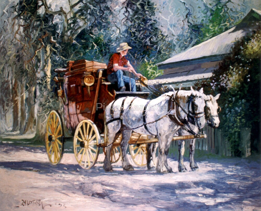 Cobb & Co Coach with Heavy Horses by Pieter  Zaadstra
