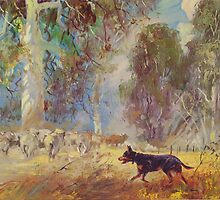 Fred the Kelpie - Driving the Flock by Pieter  Zaadstra