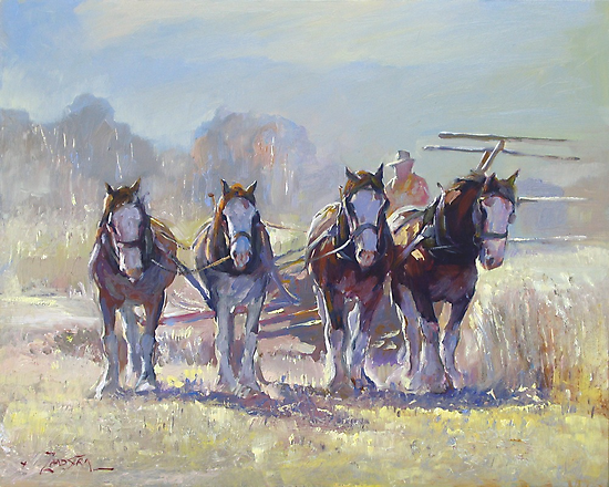 Draught Horses after Max Middleton  by Pieter  Zaadstra