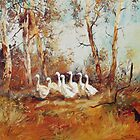 Herding the Farm Geese - Australian Kelpie by Pieter  Zaadstra