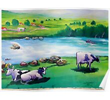 Desert Folk Art - When The Cows Come Home Poster